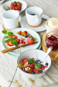 Germany,?Bowl of breakfast yogurt with fruits, walnuts and mint