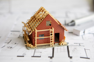 Architecture, model of home ownership on construction plan