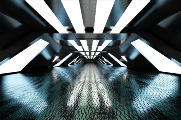 Three dimensional render of bright futuristic interior with metal floor Fotobehang