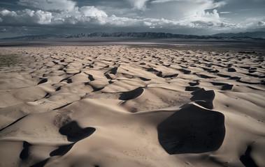 USA, California, Low-level aerial photography of Cadiz Dunes in Mojave Desert