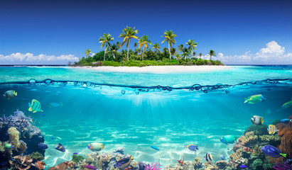 Stores à enrouleur Ile Tropical Island And Coral Reef - Split View With Waterline