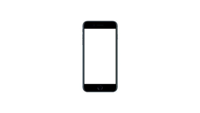 mockup expensive modern phone with touch id background with blank white display on white blank background. 3d render. iPhone 7 8 SE