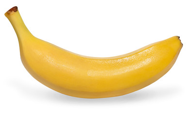 one yellow tasty banana on a white background for your menu design or store advertisement