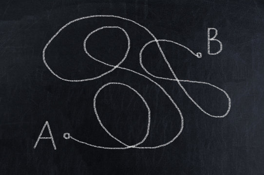 From point A to point B, not the shortest way on black chalkboard