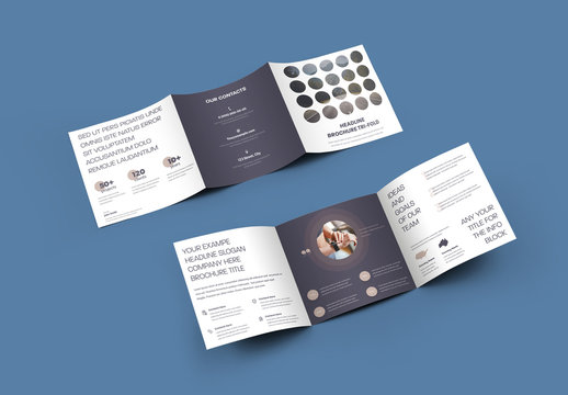 Square Tri-Fold Brochure with Round Elements Design
