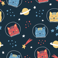 Cute seamless hand drawn pattern with cat cosmonaut, stars, space. Scandinavian style. Vector illustration for kids, nursery,  fabric etc