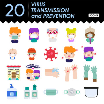 Virus transmission and prevention icons-colors