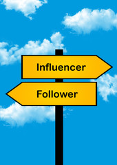 dilemma concept, influencer or follower , yellow arrows different directions