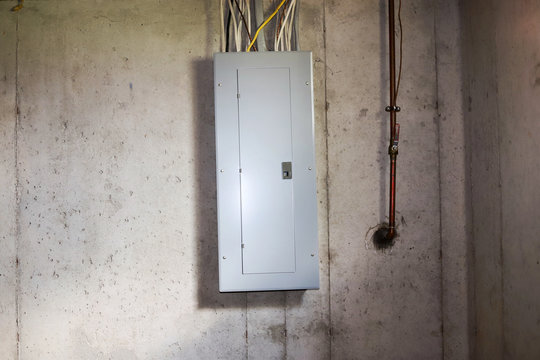 A  fuse box in a basement
