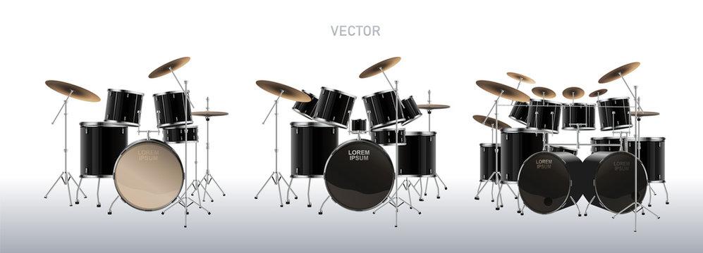 Realistic drum kit. Set of Drums. Vector.