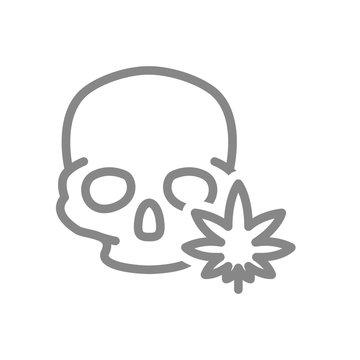 Human skull with marijuana leaf line icon. Cannabis treatment, anesthesia symbol