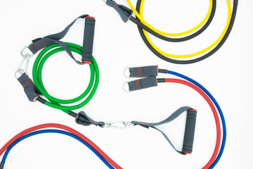 Colorful resistance bands isolated on the white background.