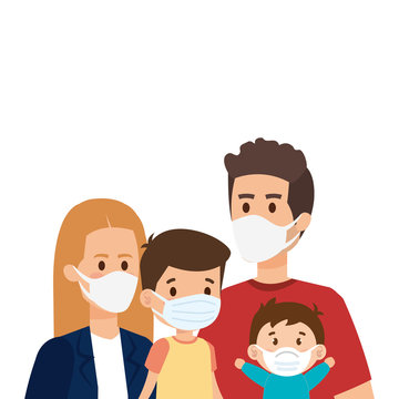 parents with children using face mask vector illustration design