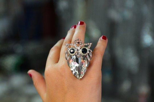 Cropped Image Of Woman Wearing Diamond Ring