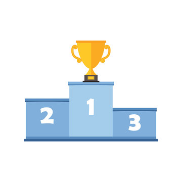 Podium for winners with a gold Cup, close-up, isolated on a white background, vector color illustration, design