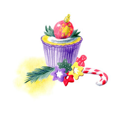 Hand painted Christmas arrangement with cupcakes, abstract spots and different decorations. Yellow, red, purple and green color palette. For templates, menu cards, invitation, greeting and postcards