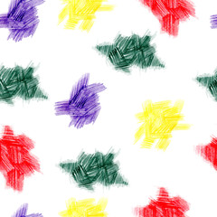 Seamless pattern of  hand painted of color pencils abstract spots. Hatching texture. Yellow, red, purple and green color palette. For templates, backdrops, invitation, greeting and postcards.
