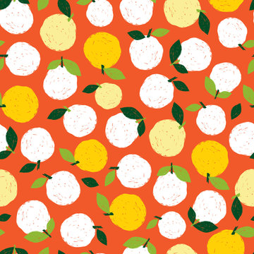 Vector colorful textured pear fruit pen sketch repeat pattern with orange background. Suitable for textile, gift wrap and wallpaper.