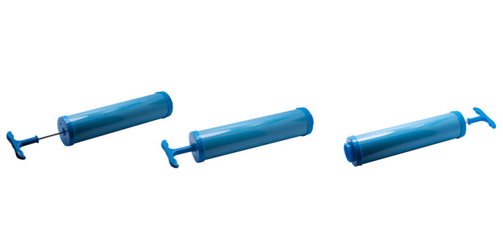 The hand vacuum pump is suitable for pumping plastic bags to be smaller and smaller. To increase more space,on a white background,with clipping path