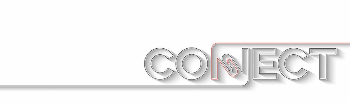 Connect Calligraphic line art Text  Banner Poster vector illustration Design.