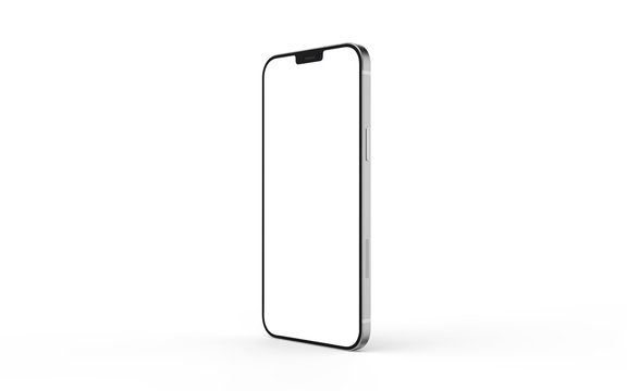Bangkok, Thailand - MAR 12, 2020 : Smartphone mockup iphon frameless of Smartphone iPhone 12 Pro Max with blank screen for Infographic Global Business web site design app, - Clipping Path