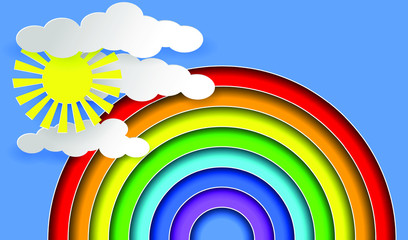 Rainbow, sun and clouds. Layered Paper art style. EPS10