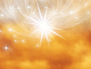 Wall Mural - angelic mystical mystic abstract magic background with stars and mystic whirl over sunrise or sunset sky