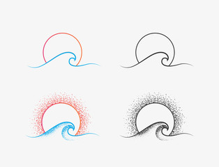 Sun and ocean wave logo or icon design in colored and black versions. Summer time vacation or surfing minimalistic thin line icon isolated on white background. Vector illustration
