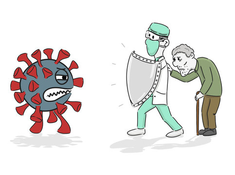 Doctor holding knight shield to protect from COVID-19 Virus pathogens, he protects the senior