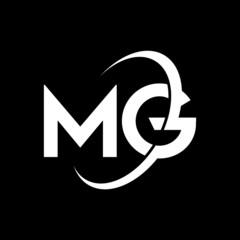 Fototapeta MG Letter Logo Design. Initial letters MG logo icon. Abstract letter MG M G minimal logo design template. M G letter design vector with black colors. mg logo obraz