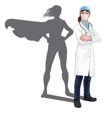 A female doctor super hero woman with stethoscope and mask PPE. With arms folded and serious but caring look. Revealed as a superhero by the shape of her shadow.