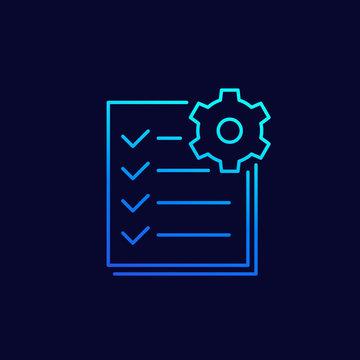 maintenance list line icon, vector