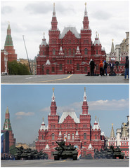 A combination picture shows Red Square on Victory Day in 2020 and 2016
