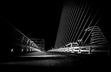 Samuel Beckett Bridge in Dublin (black and white)