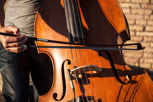 Musician playing the cello