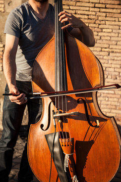 Musician playing the cello.