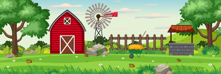 Background scene with red barn on the farm