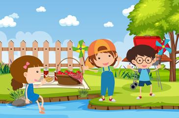 Door stickers Rainbow Background scene with kids in the park