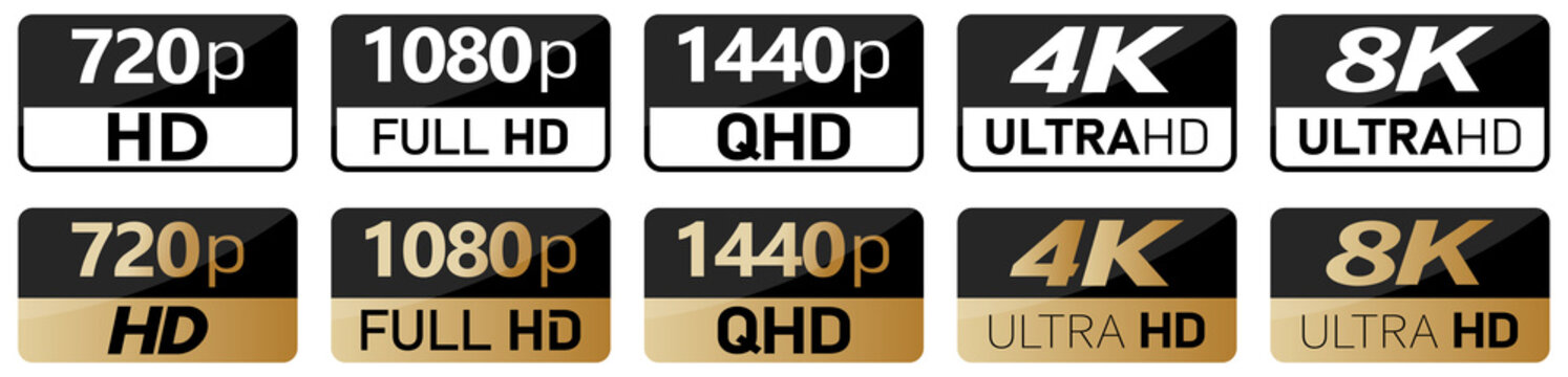 Black, white and golden video or screen resolution icons. Set from 720p to 8k