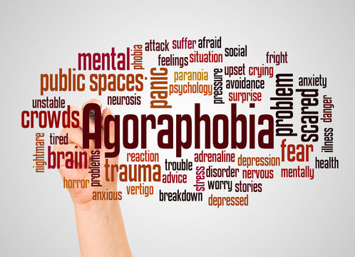 Agoraphobia fear of public spaces or word cloud and hand with marker concept