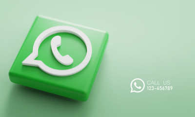 WhatsApp 3D Rendering Close up. Account Promotion Template.