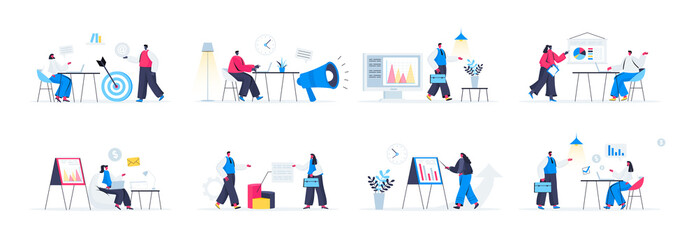 Bundle of marketing agency scenes. Marketing research and presentation, data analysis and interpretation flat vector illustration. Bundle of marketing management with people characters in situations.