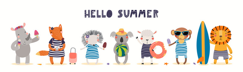 Hand drawn card, banner with cute animals on the beach, text Hello Summer. Vector illustration. Isolated on white. Scandinavian style flat design. Concept for kids holidays print, invite, poster.