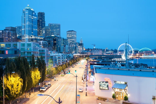 Seattle, Washington State, United States - A night view of the waterfront at downtown.