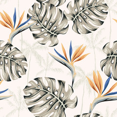 Strelitzia flowers, monstera leaves, palm trees silhouettes, beige background. Vector floral seamless pattern. Tropical illustration. Exotic plants. Summer beach design. Paradise nature