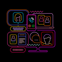 Autocollant pour porte Art abstrait Neon colors isolated on a black background Online Chatting vector illustration. Computer monitors and smartphone screens with chat messages, video conference and video calling.