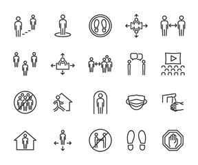 Obraz Vector set of social distance line icons. Contains icons safe distance, self-isolation, avoiding crowds, stay home, talking at a distance, safe workplace, and more. Pixel perfect. - fototapety do salonu