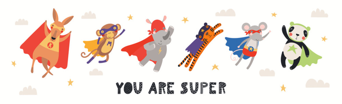 Banner, card with cute animal superheroes flying, quote You are super. Hand drawn vector illustration. Isolated objects on white background. Scandinavian style flat design. Concept for children print.