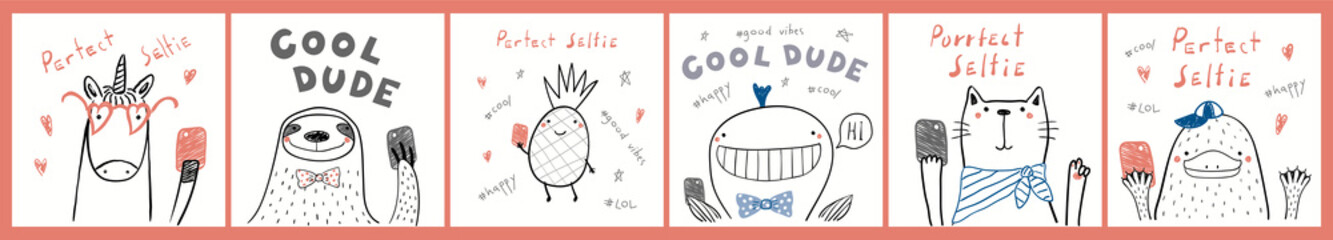 Keuken foto achterwand Illustraties Collection of cards, posters with cute funny cool hipster animals, pineapple, taking selfie, quotes. Hand drawn childish vector illustration. Line drawing. Design concept for children print.