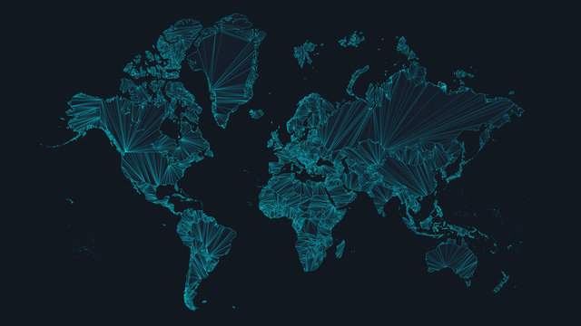 World map with nodes of global business concept, vector illustration of network interconnections, futuristic tech background